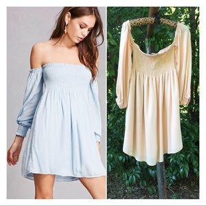 Smocked Off-the-Shoulder Blush Babydoll Dress